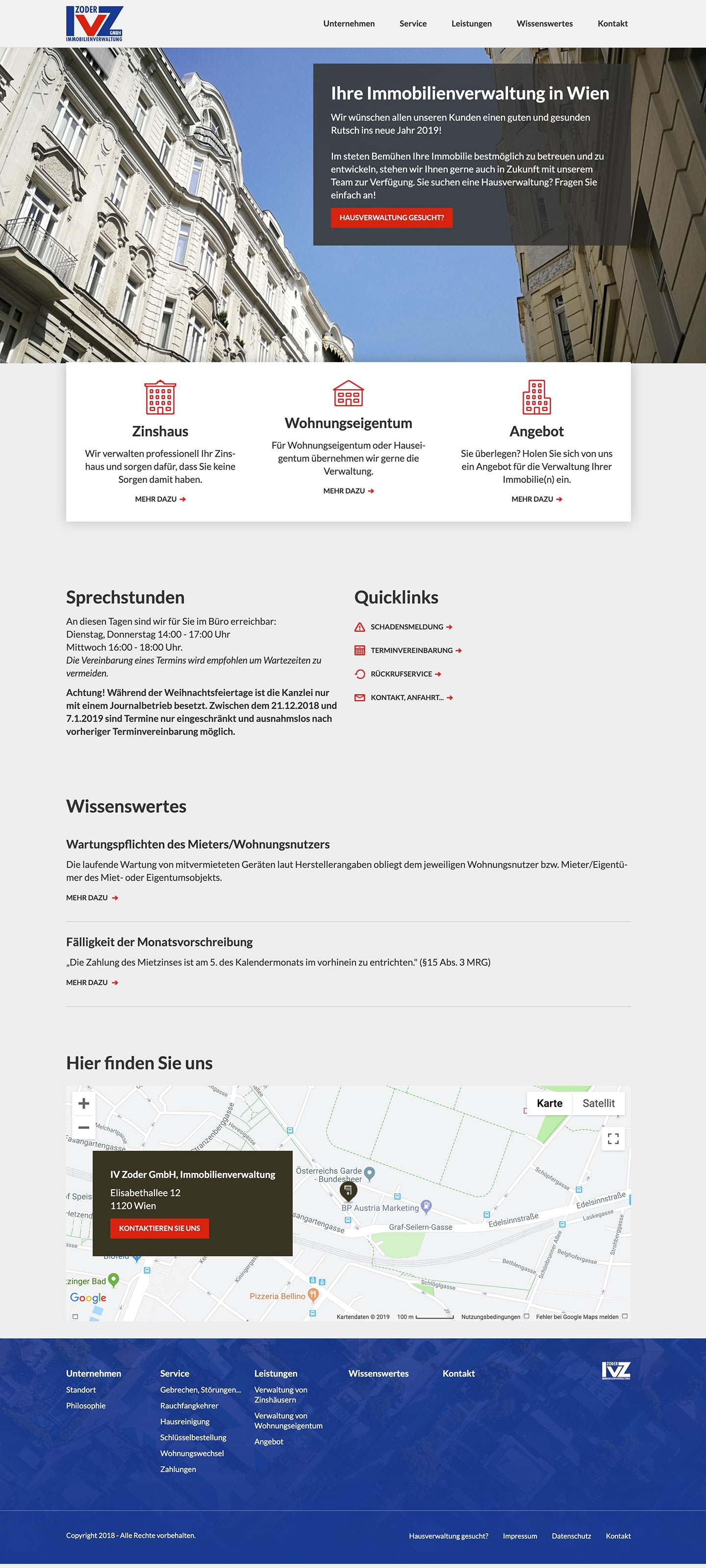 Immobilienverwaltung Zoder | ivzoder.at | 2018 (Desktop Full Scroll) © echonet communication